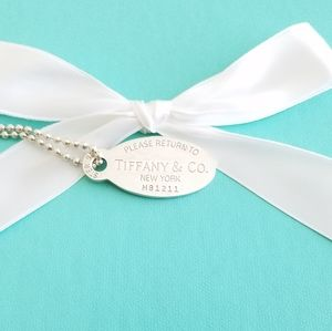 "Tiffany & Co. Jewelry - XL oval tag pendant 34"" necklace"